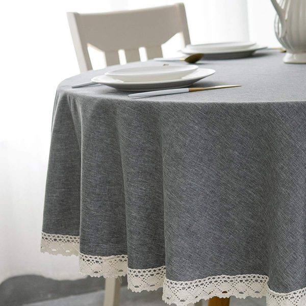 EHouseHome Faux Linen Tablecloth with Lace Trim - Waterproof/Spill Proof/Stain Resistant/Wrinkle Free/Oil Proof - for Banquet, Parties, Dinner,Kitchen,Wedding,Coffee,Holiday,Grey Round 70Inch