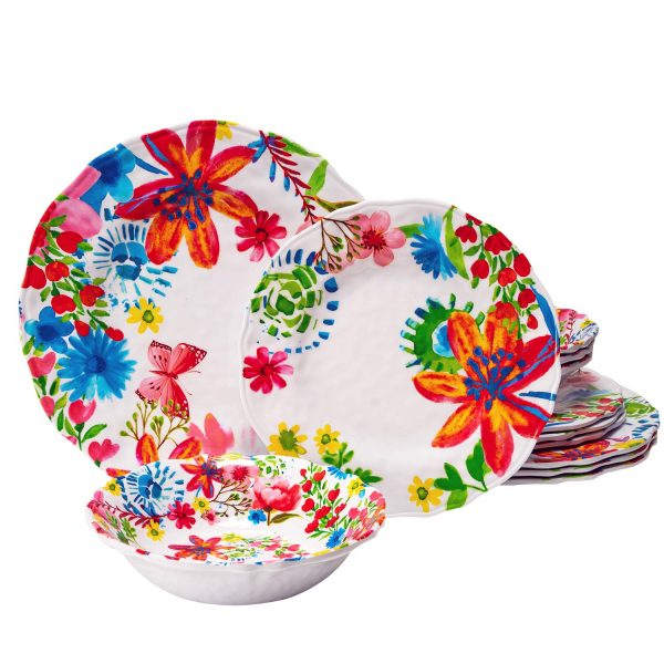 Melamine Dinnerware Set 12 Pcs Floral Plate Bowl Set Durable Dishware Dishwasher Safe Shatter Proof Chip Resistant Not Microware Not Oven