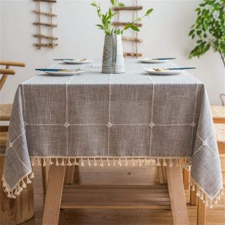 Vonabem Table Cloth Tassel Cotton Linen Table Cover for Kitchen Dinning Wrinkle Free Table Cloths Rectangle/Oblong (58''x86'', 6-8 Seats, Grey)