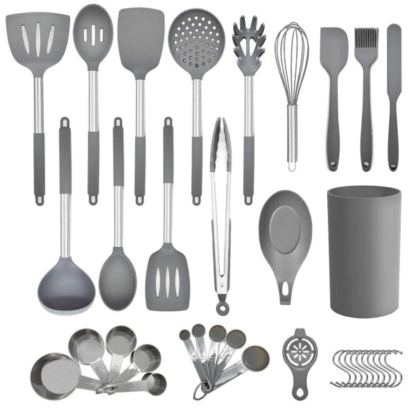 36pcs Non-stick Silicone Kitchen Utensils Spatula Set with Holder