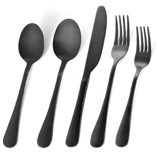 RENOOK 25-Piece Matte Black Silverware Set, Utensil Sets for Kitchens, Satin Finish Stainless Steel Flatware Set, Tableware Cutlery Set for 5, Dishwasher Safe, Gift Package.(25)