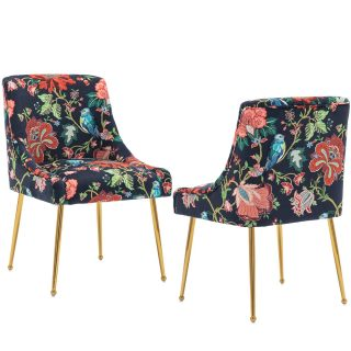 chairus Velvet Dining Chairs, Modern Upholstered Dining Room Chairs with Brass Metal Legs, Luxury Contemporary Kitchen Living Room Chairs, Set of 2 (Vintage Safflower)