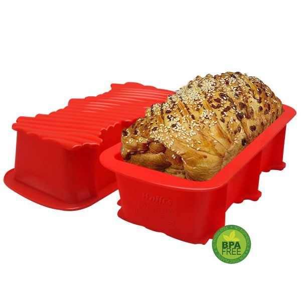 Walfos Silicone Loaf Pan Set - 2 Pieces Non-Stick Silicone Bread Pan, Just PoP Out! Perfect for Bread, Cake, Brownies, Meatloaf, BPA Free & Dishwasher Safe