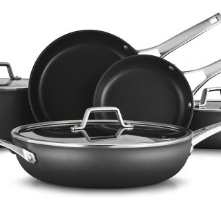Calphalon Premier Hard-Anodized Nonstick 8-Piece Cookware Set, Black