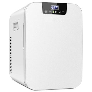 21QT Mini Fridge With 2 Power Cords Portable Cooler Warmer Makeup Skincare Cosmetics Beverages Refrigerator Dual Core Refrigeration Touch Screen Control Suitable For Dormitory Office Bedroom Car Use