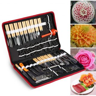 80PCS/Set Culinary Carving Peeling Tools Kit,Portable Vegetable Fruit Food Kitchen Carving Sculpting Modeling Tools Kit Pack For Fruit Vegetable Garnishing Cutting Slicing