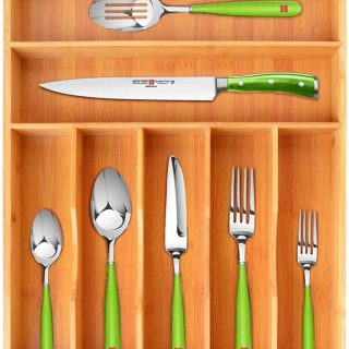 Bamboo Kitchen Drawer Organizer Tray for Flatware - Best Cutlery Tray for Silverware and Kitchen Utensils (7 Slots, Natural)