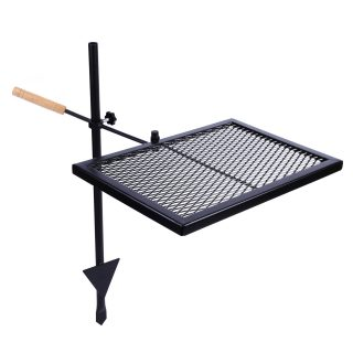REDCAMP Swivel Campfire Grill Heavy Duty Steel Grate, Over Fire Camp Grill with Carrying Bag for Outdoor Open Flame Cooking