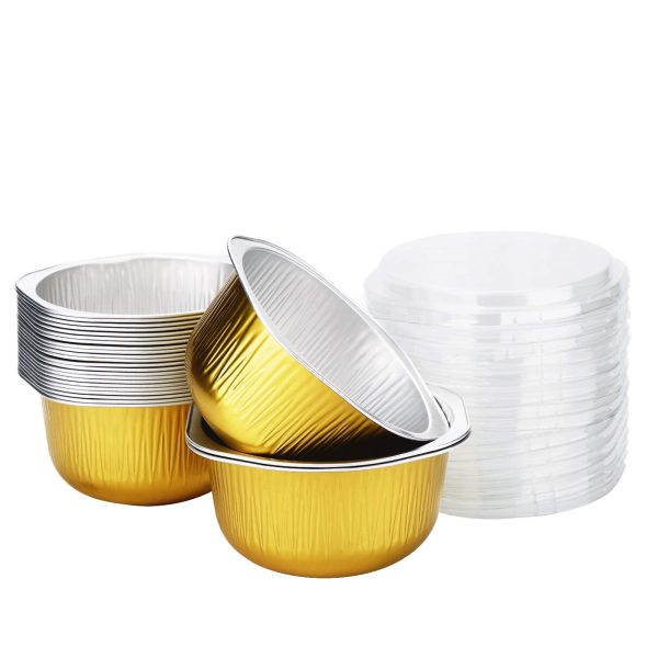 Round Loaf Pan, Beasea 25 Pack 4 Inch Mini Loaf Pans with Lid, Disposable Loaf Pan Aluminum Foil Cups Disposable Creme Brulee Muffin Cupcake Baking Cup Mini Pudding Cups for Party Wedding Birthday