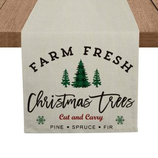 Artoid Mode Christmas Pine Spruce Fir Trees Table Runner, Seasonal Farm Fresh Winter Xmas Holiday Tablecloth Kitchen Dining Table Linen for Indoor Outdoor Home Party Decor 13 x 72 Inch