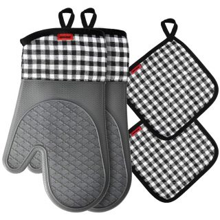 Ankway Oven Mitts and Pot Holders Sets, Kitchen Counter Safe Trivet Mats Advanced Heat Resistant Oven Mittens, Non-Slip Textured Grip Potholders