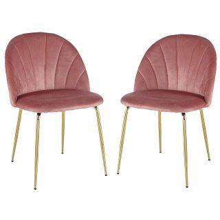 Duduta Velvet Upholstered Kitchen Dining Chairs Set of 2, Mid-Century Modern Side Chairs with Gold Legs, Blush