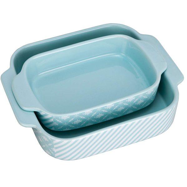 Bakeware Set,SIDUCAL 2 PCS Ceramic Baking Dishes,Rectangular Serving Lasagna Pan Casserole Dish,Lightblue and White
