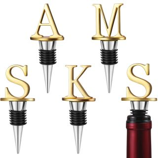 4 Pieces Letter Wine Stoppers Letter Wine Preserver Beverage Bottle Stopper Aluminum Alloy Wine Stopper for Bar Kitchen Party Wedding Tools, Letter A M S K