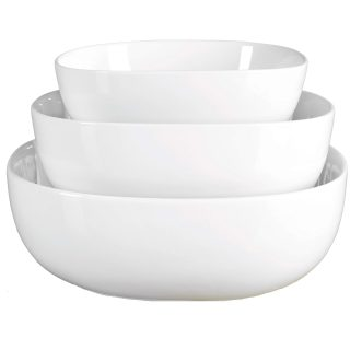 Denmark White Porcelain Chip Resistant Scratch Resistant Commercial Grade Serveware, 3 Piece Serving Bowl Set