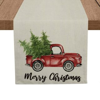 Artoid Mode Merry Christmas Trees Red Truck Table Runner, Seasonal Winter Xmas Holiday Tablecloth Kitchen Dining Table Linen for Indoor Outdoor Home Party Decor 13 x 72 Inch