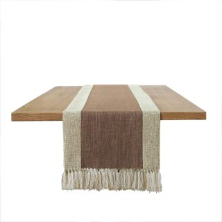 PHNAM Brown and Beige Table Runner with Tassels Long Linen Cotton Coffee Dining Table Cloth Runners Non Slip for Home Kitchen Party Wedding Decorations, Machine Washable