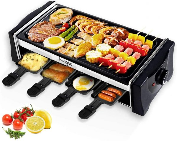Hengbo House Kitchen Electric Smokeless Indoor Grill and Outdoor Electric Grills, Non-Stick Barbecue Griddle with 8 Mini Pans, Adjustable Temperature Control Smoke-Free BBQ for 8 Person