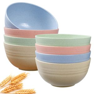 Cereal Bowls, (Dabacc) Unbreakable Wheat Straw Bowl 24 OZ for Rice Noodle Soup, Healthy Kitchen Dinnerware Set for Parties and Camping, Dishwasher & Microwave Safe - BPA Free 8 Pack