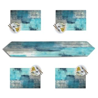 Turquoise Grey Abstract Art Painting Placemats with Table Runner Set,Insulation Placemat Washable Table Mats Set for Party Holiday Dinner Home (Turquoise Grey, 1 Table Runner and 4 Placemats)