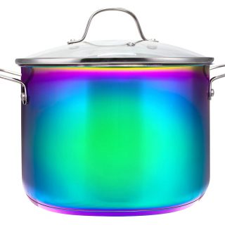 The Magical Kitchen Collection by The Sneaky Chef - Iridescent Rainbow 8-Quart Stock Pot With Handles & Glass Lid -Premium Heavy Duty Stainless Steel Titanium, Rust Proof, Oven-Safe, Induction Ready.