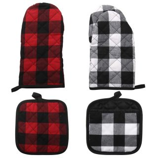 4 Pack Large Cotton Plaid Oven Mitts Professional Baking Food Safe Hot Pat Cotton