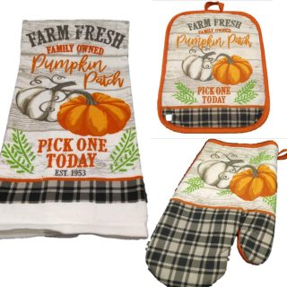 Kitchen Linen Set - Fall Decorations - Bring The Harvest of a Farm Fresh Family Owned Pumpkin Patch Into The Kitchen - Dish Towel - Oven Mitt - Pot Holder - Buffalo Check Home Decor