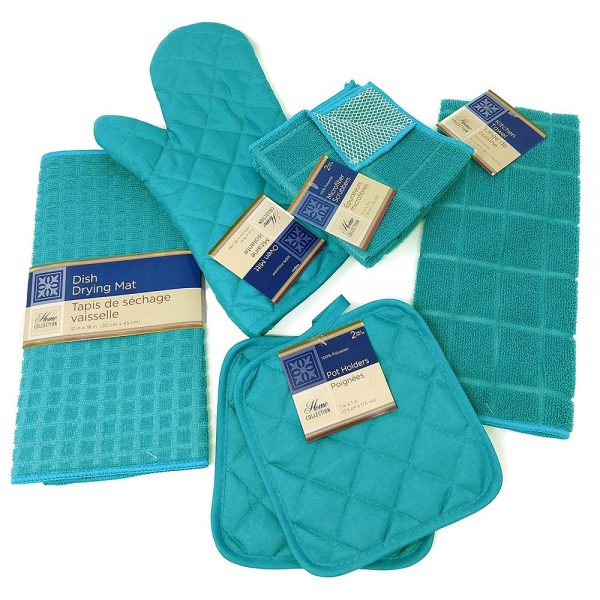 Kitchen Towel Set with 2 Quilted Pot Holders