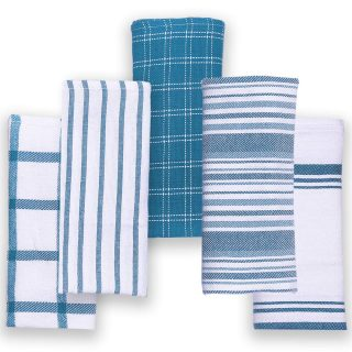 Cotton Talks Kitchen Towels - Pack of 5 Dish Towels Cotton - 18 x 28 inches Holiday Kitchen Towels - Extra Absorbent Dish Towels for Kitchen - Soft Hand Towels Kitchen - 100% Pure Cotton Fabric Teal