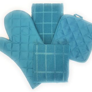 Turquoise 9 Piece Kitchen Linen Bundle with 2 Dish Towels, 2 Dish Cloth Scrubbers, 2 Potholders, 1 Oven Mitt & 2 Matching Spatulas