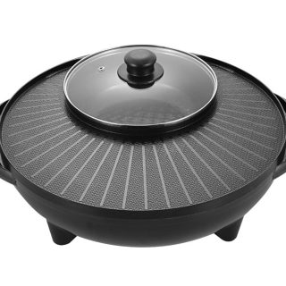 HAORANJIA 2 in 1 Electric Hot Pots, Shabu Korean BBQ Contact Grill Smokeless 110V Black