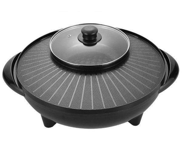 HAORANJIA 2 in 1 Electric Hot Pots, Shabu Korean BBQ Contact Grill Smokeless 110V Black