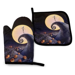 MSGUIDE The Nightmare Before Christmas Print Oven Mitts Pot Holders Set, Heat Resistant Kitchen Waterproof with Inner Cotton Layer for Cooking BBQ Baking