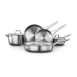 Calphalon Premier Stainless Steel Pots and Pans 8-Piece Cookware Set, Silver