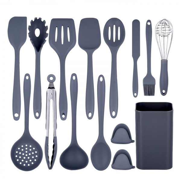 15 Silicone Cooking Utensils with Holder
