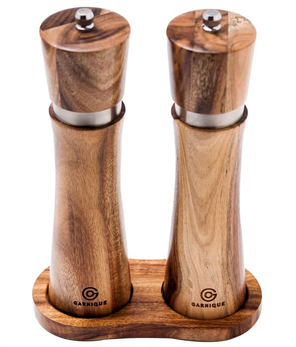 Wooden Salt and Pepper Grinders - Acacia wood salt and pepper grinder set, salt and pepper mills refillable, Matching wood tray. Luxury Gift box for weddings, birthdays, gourmet cooks.