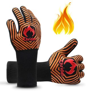 "Chrider BBQ Gloves 1472°F Extreme Heat Resistant Grilling Gloves, 13"" Silicone Non-Slip Oven Mitts for Grilling,Smoker,Barbeque,Kitchen Cooking - 1 Pair"