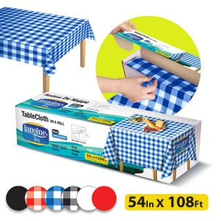 Langine Tex 54 Inch x 108 Feet Disposable Plastic Tablecloth Roll Table Cover for Round, Rectangle, Square Tables Tablecloths for Picnic, Restaurant, Party, Banquet, Inside, Outside, Blue Checkered