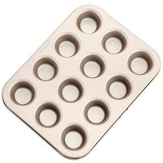 CHEFMADE Mini Muffin Pan, 12-Cavity Non-Stick Mini Cupcake Pan Bakeware for Oven Baking (Champagne Gold)