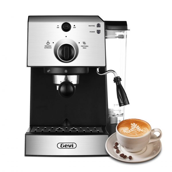 Gevi Espresso Machines 15 Bar Fast Heating Cappuccino Coffee Maker with Foaming Milk Frother Wand for Espresso, Latte Machiato, 1.25L Removable Water Tank, Double Temperature Control System, 1350W, Black/Silver.