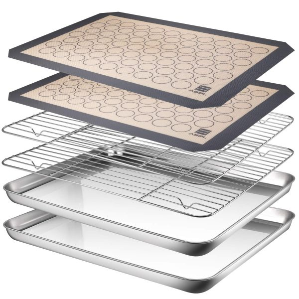 AASELM Stainless Steel Baking Sheet Tray Cooling Rack with Silicone Mat, Non Toxic & Healthy, Superior Mirror Finish & Easy Clean, 2 Baking Sheets + 2 Mats + 2 Baking Rack