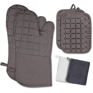 Adebena Oven Mitts and Pot Holders 6Pcs Set, 500℉ Heat Resistant Oven Gloves with Kitchen Towels Soft Cotton Lining and Non-Slip Silicone Grid Surface Safe for Cooking, Baking, BBQ, Grilling (Gray)