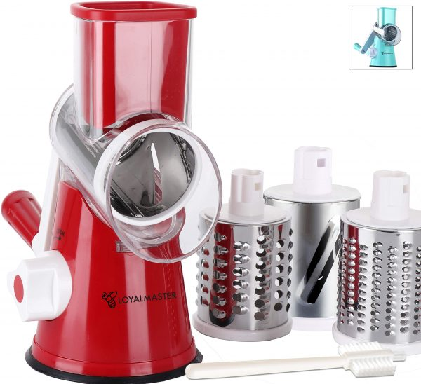 LOYALMASTER Manual Cheese Shredder Rotary Mandoline UPGRADE DESIGN - Round Drum Grater Vegetable Slicer - Easy to Clean Hand Crank for Walnuts, Potato, Nut Grinder -3 Drums - Strong Suction Base
