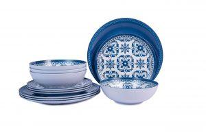 Melamine Dinnerware Set for 4-12pcs Outdoor Plates and Bowls Set , Dishwasher Safe, Blue Flower