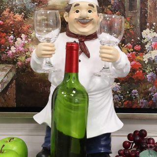 Chef Paul with Apron Red Scarf and Tall Hat Wine Bottle and 2 Glasses Holder