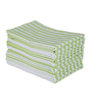 DG Collections Kitchen Dish Towels, 100% Natural Cotton Kitchen Towels (Size 18 x 28 Inches) for Kitchen Décor, Super Absorbent, Set of 12 - L.Green Stripe