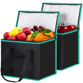 Insulated Reusable Shopping Bags Grocery Bags [2 Pack] with Handles