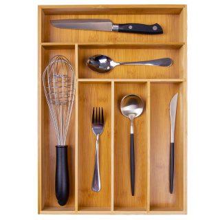 Kitchen Utensil Drawer Organizer, Bamboo Silverware Tray for Drawer ,Cutlery Organizer, Flatware Drawer Holder Medium,Wood Storage Organizers,Kitchen Knife Drawer Dividers Insert 12.2X17