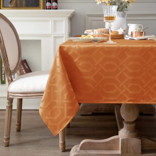 MILARAN Waterproof Tablecloth Hollow Square Jacquard Design Oil and Spill Proof Waterproof Tablecloth, Square Table Cover for Kitchen Dinning Tabletop Buffet Decoration(55 x 70 inch, Deep Orange)
