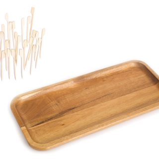 Wood Serving Platter Tray Plate, Wooden Steak Plates, Solid Natural Rectangular Acacia Wood for Food Party Cheese Appetizer, Avoid Sliding Spilling Food with 50 Paddle Picks Skewers
